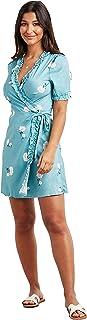 فستان قصير للنساء مزين بالكشكشة وقبة V