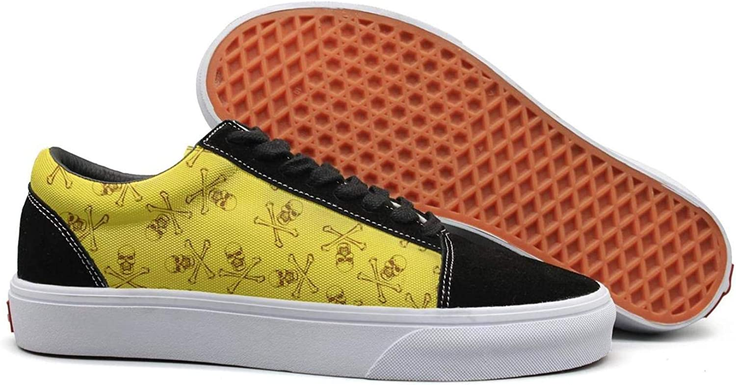 Winging Women Yellow Mexican Skull Crossbones Retro Suede Canvas shoes Old Skool Sneakers