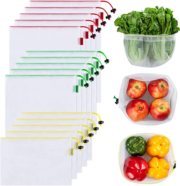 Ecowaare Set Of 15 Reusable Mesh Produce Bags Eco Friendly Washable And See Through With Colorful Tare Weight Tags 3 Sizes