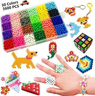 Water Fuse Beads Kit 30 Colors 3600 Beads, Creative Beads Toy DIY Magic Water Sticky Beads Complete Set for Children Beginners