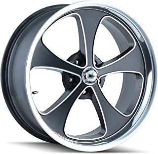 Ridler Style 645 Matte Black Wheel with Machined Face/Polished Lip (18x9.5