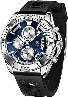 Montres Hommes BENYAR Chronographe Analogique Mouvement à Quartz 3ATM Imperméable Bracelet en Silicone Elegante Cadeau