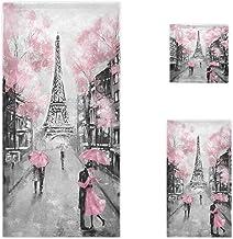 Naanle Stylish Romantic Street View of Paris Eiffel Tower Soft Luxury Decorative 3 Pieces Set Towels, 1 Bath Towel+1 Hand ...