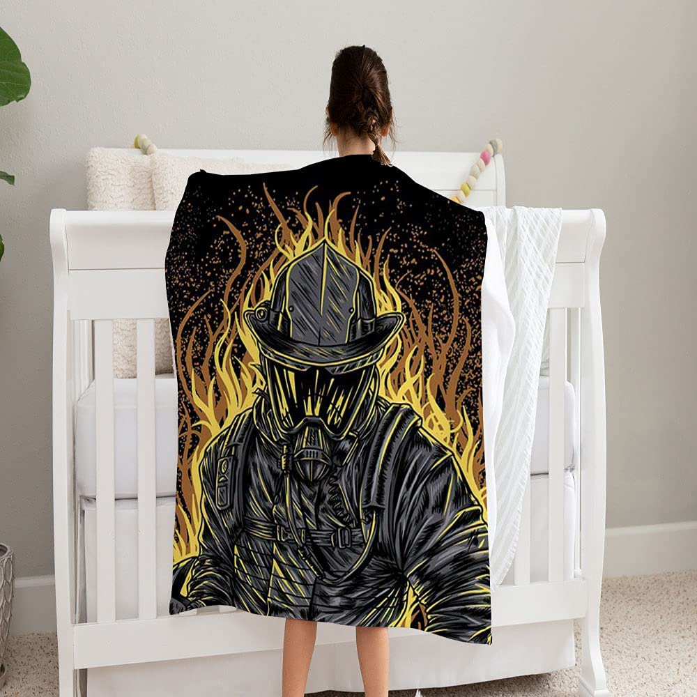 GANTEE Fire Fighter Super Soft and Cozy San Diego Mall f Credence Fleece Blanket Perfect