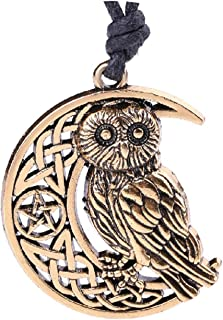Goddess Crescent Moon Pendant Owl Necklace Wicca Pentagram Pagan Amulet Talisman Jewelry