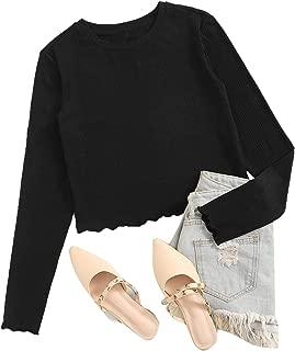 SweatyRocks Women's Casual Letter Print Ribbed Knit Long Sleeve Crop Top T Shirt