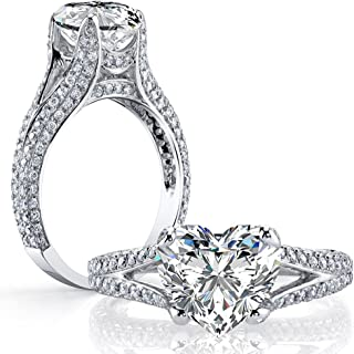 561a2770a DIAMOND MANSION Dazzling Natural Heart Cut Split Shank Micro Pave Diamond  Engagement Ring - GIA Certified