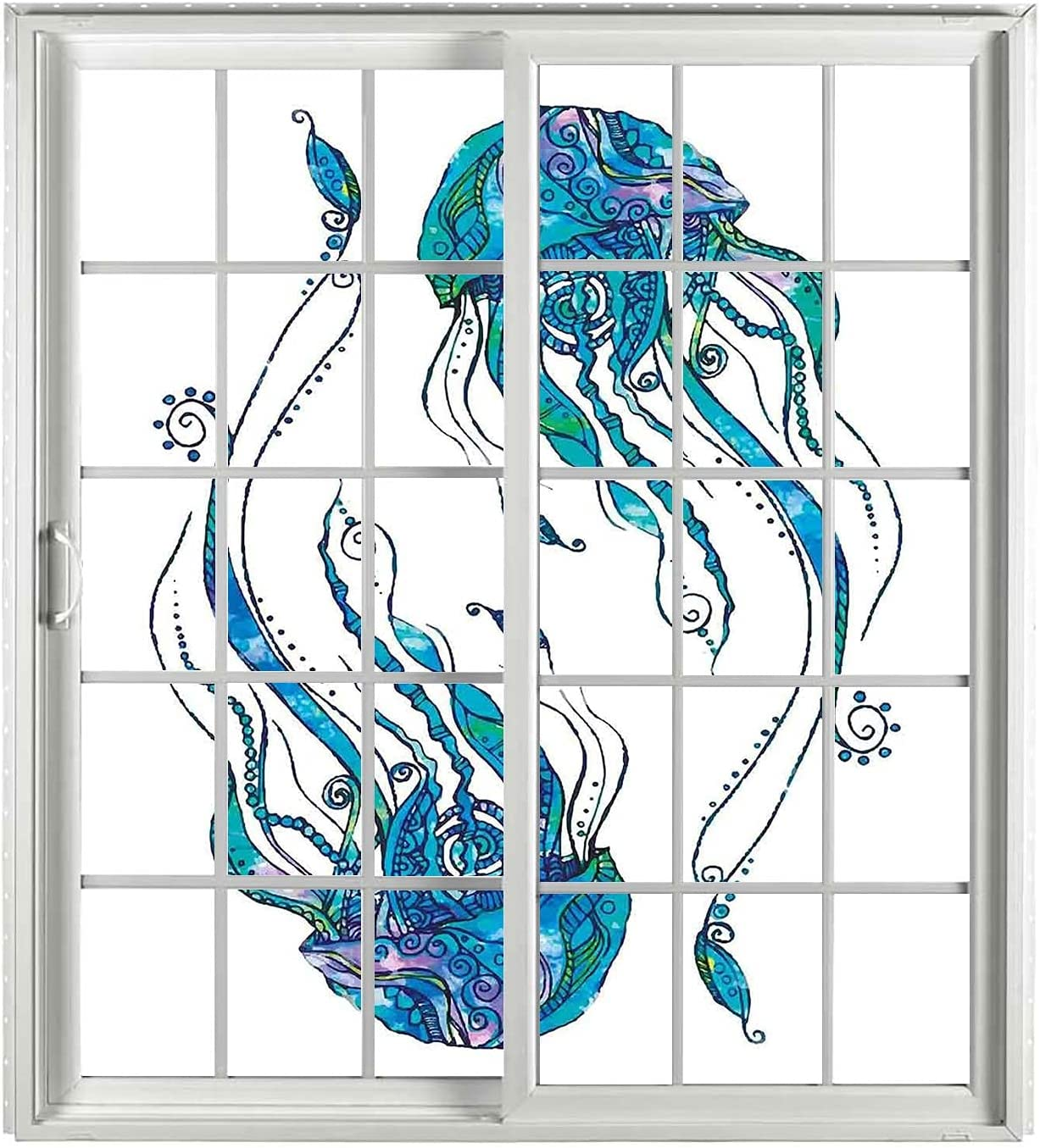 Jellyfish Decor Stain Glass Window Cling Set PCS 2 Max 78% OFF Turquoise Super sale Rem