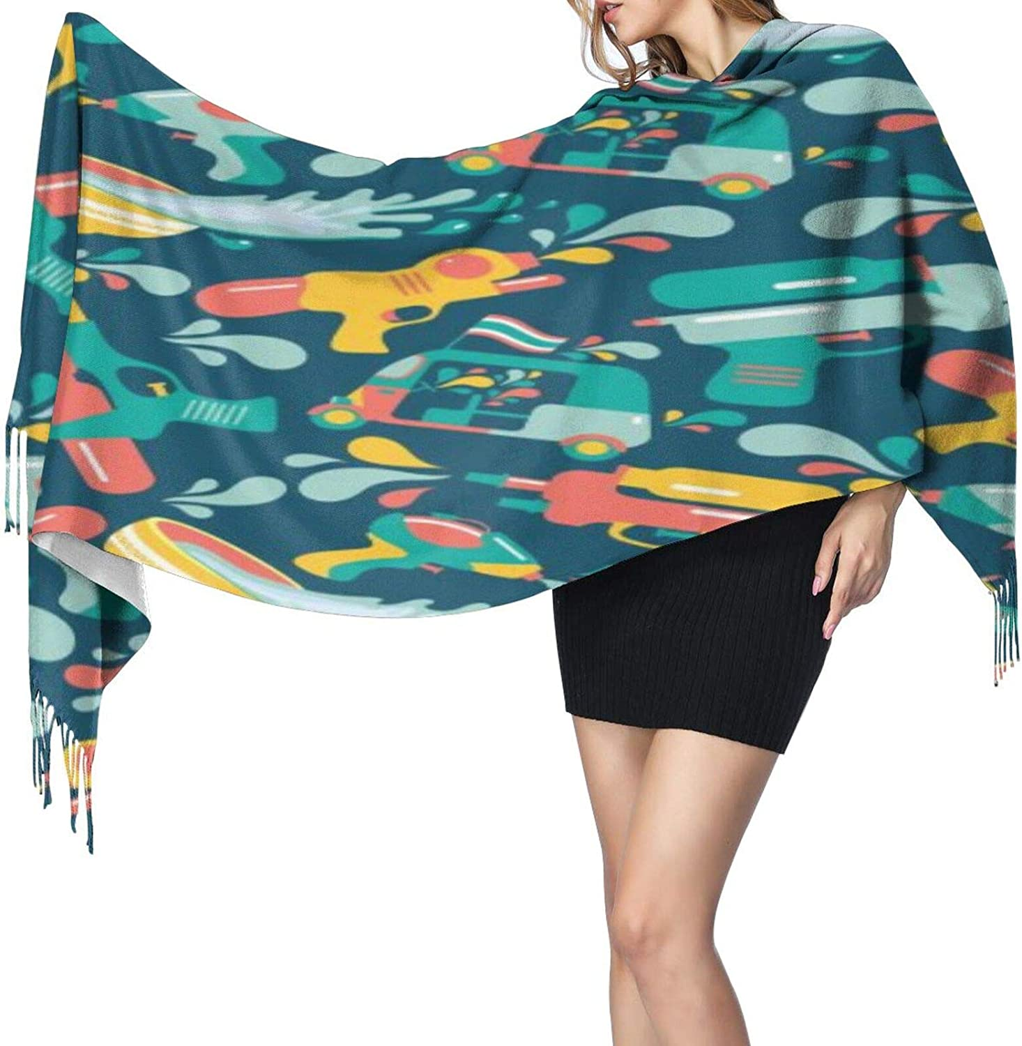 Cashmere fringed scarf Songkran Festival in Thailand winter extra large scarf