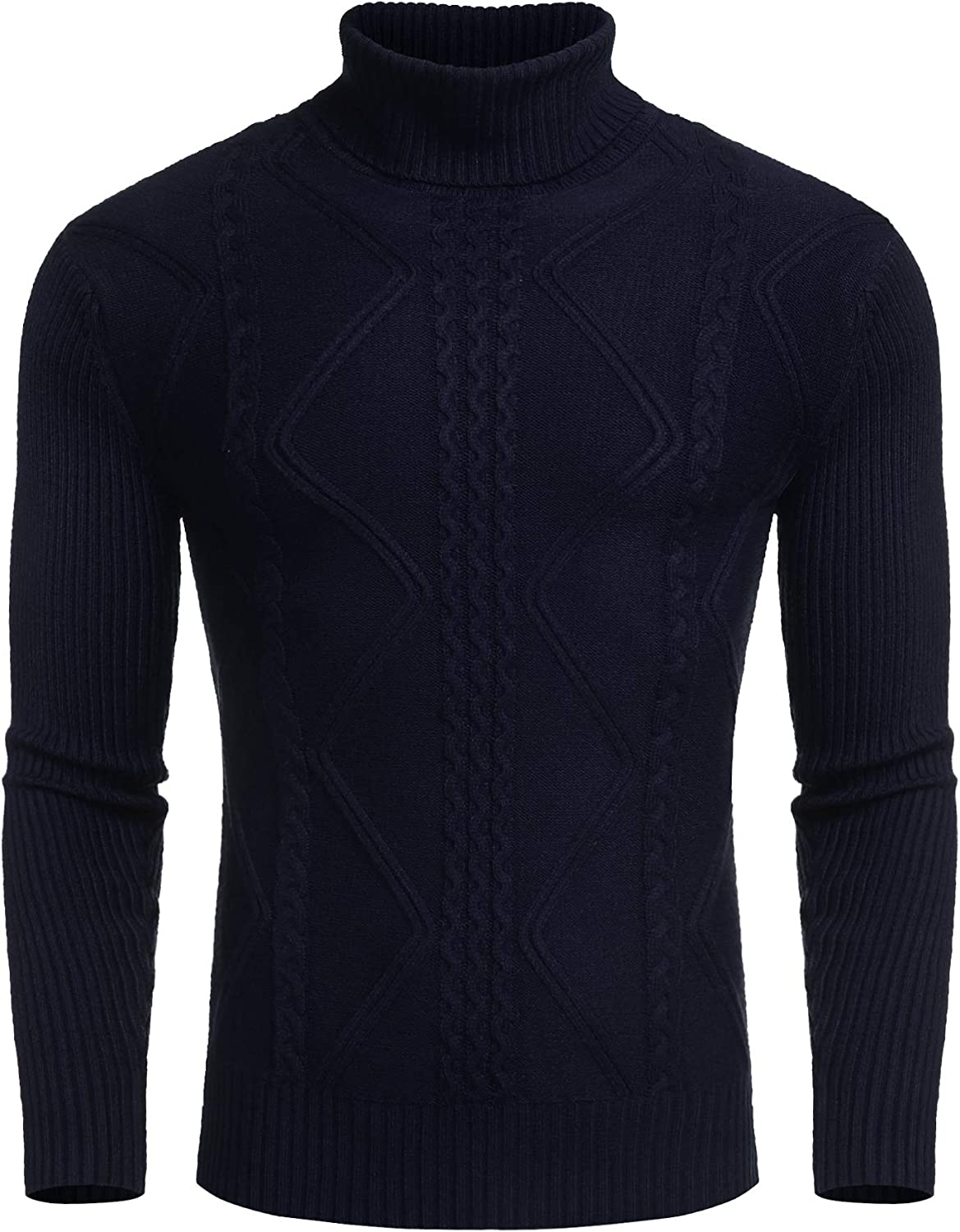 COOFANDY Men's Turtleneck Sweaters Casual Slim Fit Knitted Thermal Pullover Sweater