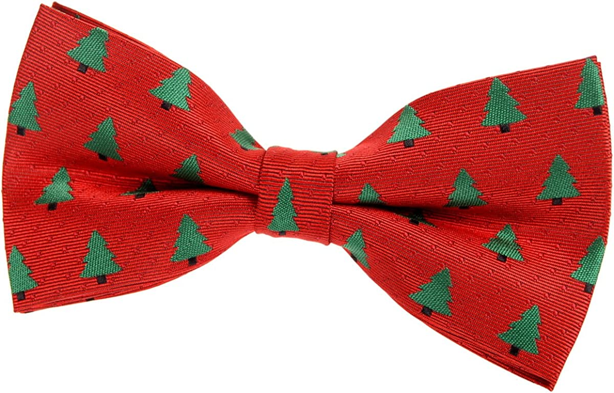Retreez Red Christmas Woven Pre-tied Bow Tie with Christmas Trees Pattern (5
