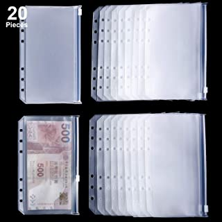 Binder Pocket 6 Holes Loose Leaf Bags A6 Size Binder Zipper Folders Plastic File Document Bags for Home Office School Supplies (20 Pieces, A6 Size)