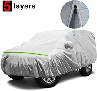 KAKIT Waterproof Jeep Cover, 5 Layers 2 Door All Weather UV Protection Car Cover for Jeep Wrangler, with Driver Door Zipper, Fits Up to 166
