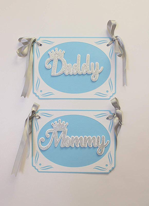 All About Details Prince Theme Daddy Mommy Chair Signs 1set Prince Theme Baby Shower Prince Theme 1st Birthday Light Blue Silver