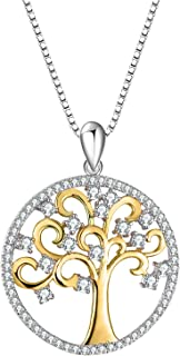 T400 925 Sterling Silver Necklace Tree of Life Golden Cubic Zirconia Pendant Women Family Gift For Mom