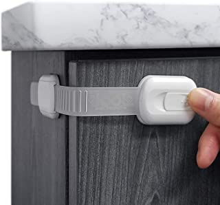 Child Safety Strap Locks for Fridge, Cabinets, Drawers, Dishwasher, Toilet, 3M Adhesive No Drilling (5 Pack)