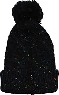 Speckled Cable Knit Pom Pom Top Cuffed Beanie Hat