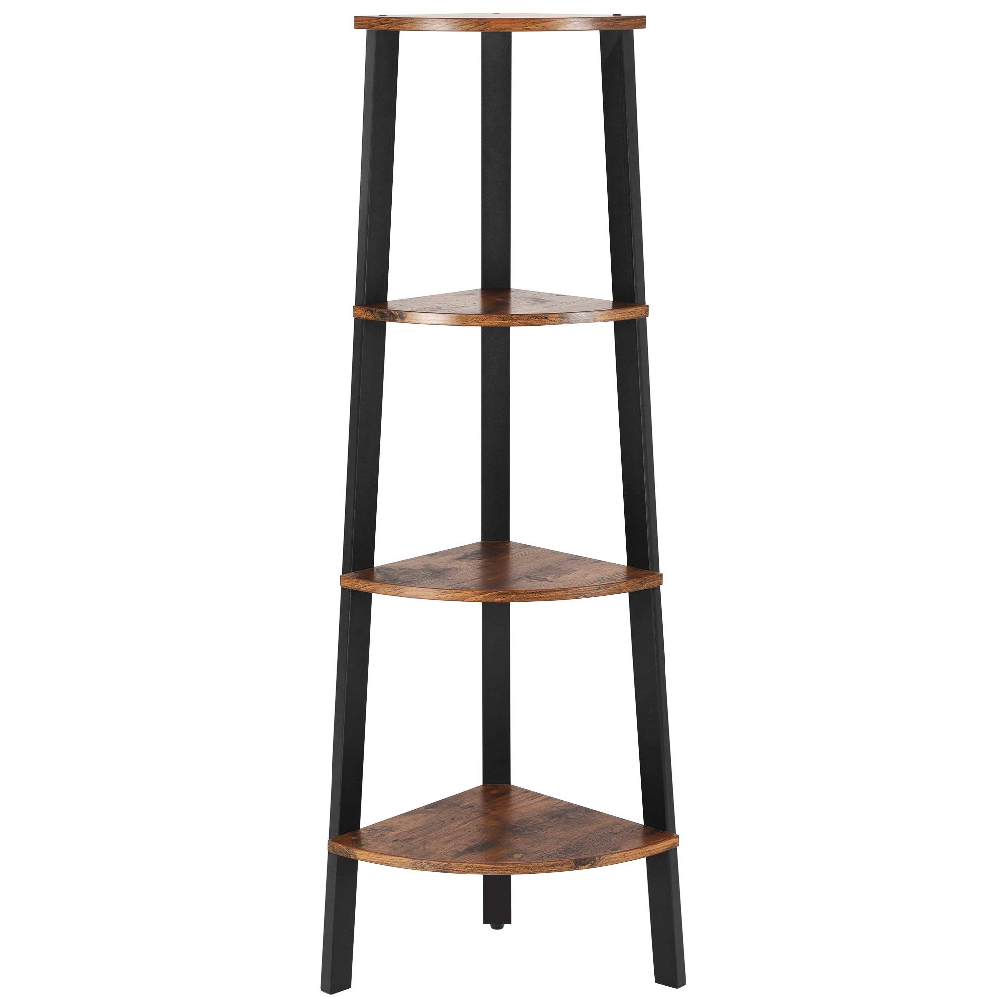 VASAGLE Estantería de Esquina Industrial, estantería con 4 Niveles en Forma de Escalera para el hogar y el Estudio, estantes de Almacenamiento de pie (Color granulado): Amazon.es: Hogar