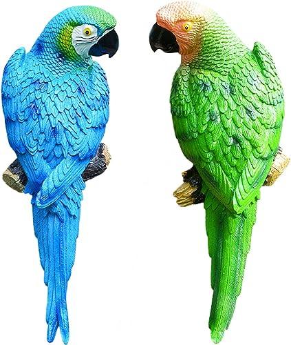 popular 12In Simulation Parrot Bird 2021 Sculpture, Wall Hanging Decoration Handmade Resin Crafts,Half Side Lifelike Sculpture Ornament Garden Decor Statues Figurines, discount Pack of 2 sale