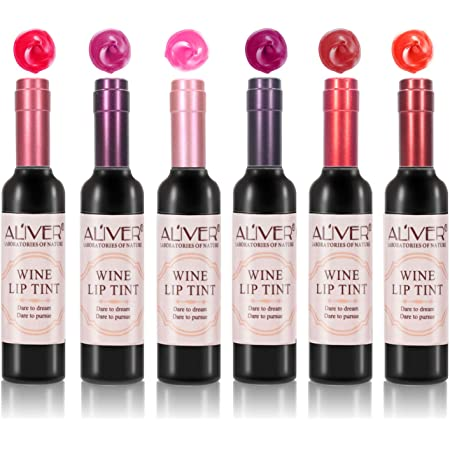 Rossetto Matte, 6 Colori Rosso Lucidalabbra Impermeabile e Lunga Durata Lip Gloss Trucco Labbra Bellezza in Bottiglia di Vino Rosso