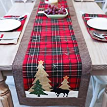 DotPet Christmas Table Runners Tree and Deer Table Runner for Family Christmas Holiday Table Christmas Dinner Party Table Decoration (Tree and Deer)