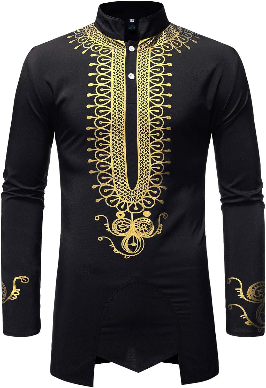 LucMatton Men's Traditional African Luxury Metallic Gold Printed Dashiki Shirt