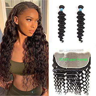 BLY 2 Bundles 20,18 Inch with 13x6 Lace Frontal 16 Inch Brazilian Virgin Loose Deep Wave Human Hair Unprocessed Remy Mink Loose Curly Hair (2 Bundles&13x6 Frontals)