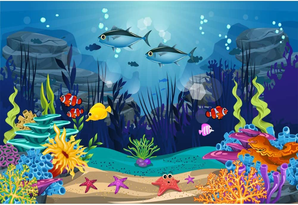 2.1x1.5m Fish Scale Fairy Princess Photography Background Girl Party Decor Supplies Photo Shooting Props 164 Zhy Under The Sea Backdrop for Birthday Party 7x5ft