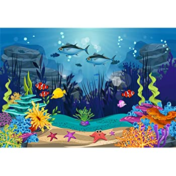 Zhy Underwater World Backdrop 5x7ft//1.5x2.1m New Vinyl Fish Underwater World Photography Background Banner Photo Shooting Props 317