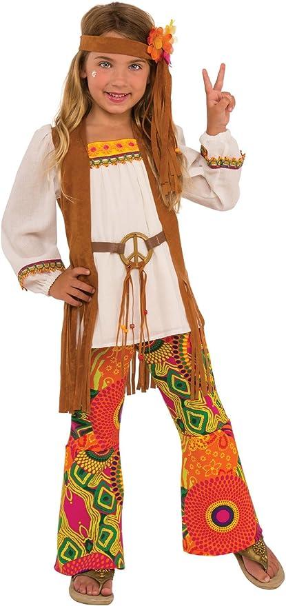 60s 70s Kids Costumes & Clothing Girls & Boys Flower Child 1960s Hippie Costume Girls Peace Sign Pants Shirt Vest 60s S-L  AT vintagedancer.com