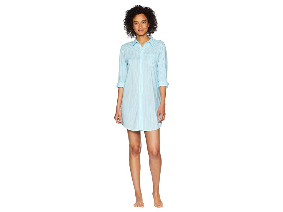 LAUREN Ralph Lauren Roll Tab His Shirt Sleepshirt (Turquoise Stripe) Women