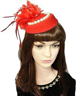 YSJOY Womens Sinamay Ostrich Feather Fascinators Flower Kentucky Derby Hat 9e215bd7371f