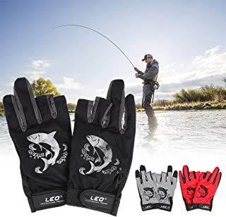 Goofly 1 Pair 3 Fingerless Fishing Gloves Breathable Quick Drying Anti-Slip Fishing Gloves Outdoor Sports Cycling Camping ...