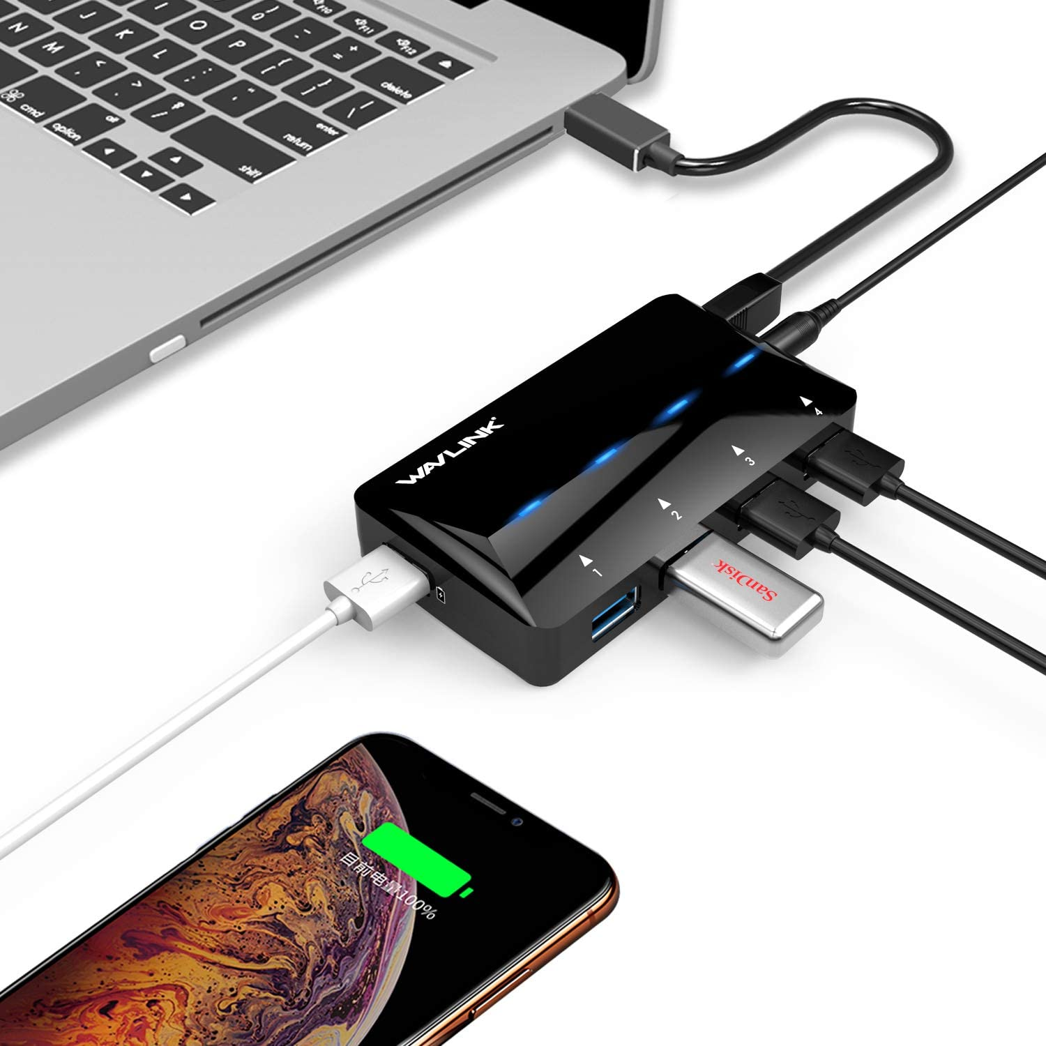 Wavlink Powered USB 3.0 Hub, 4-Port USB 3.0 Data Hub with One Smart Charging Port Up to 2.4A (BC1.2/iPad/iPhone/Tablet), with 12V/2A Power Adapter, LED Indicator, Hot Swapping, Plug and Play