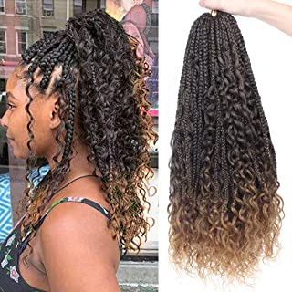 Leeven 6 Packs Bohemian Goddess Box Braids Hair 24 Inch Long Knotless Boho Box Braid Crochet Hair for Women T27 Ombre Color Crochet Braiding Messy Hair With Curly Ends