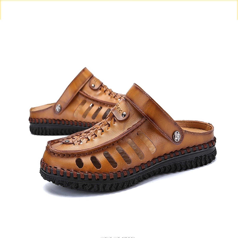 XIE Pakamo Sommer Herren Sandalen Schuhe Leder Licht Sohlen Komfort Wandern Herren Schuhe Hausschuhe  Flip-Flops Dunkelbraun Khaki Schwarz