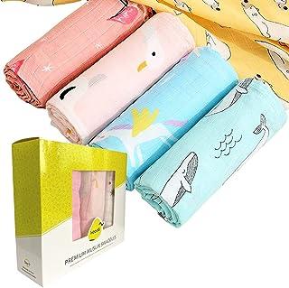 HOODLi Muslin Swaddle Blanket Towel Baby Wrap, 120x120cm, Ultra Soft 100% Organic Bamboo Cotton, Multi-purpose, Receiving ...