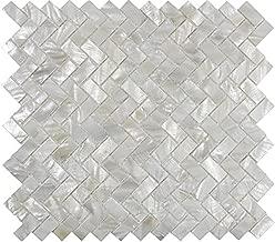 AFSJ Genuine White Herringbone Mother of Pearl Tile 12 Packs-Bathroom Kitchen Backspalsh