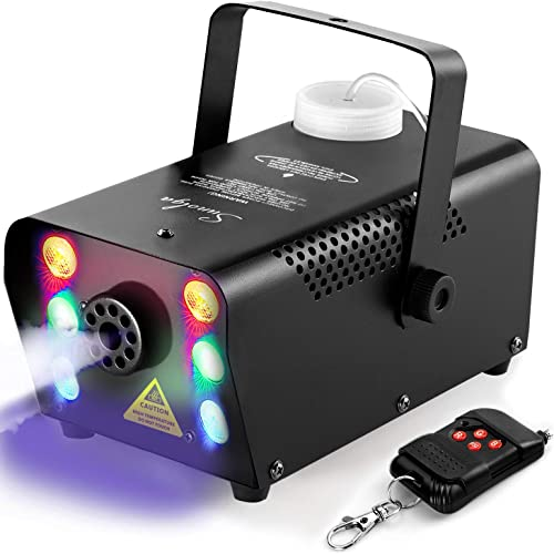 Sunolga Halloween Fog Machine,6 Stage LED Lights with 7 Colors,500W Wireless Remote Control Portable Smoke Machine,wi...