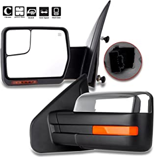 SCITOO fit Ford Towing Mirrors Chrome Rear View Mirrors fit 2004-2014 Ford F-150 Truck with Mirror Glass Power Control Heated Turn Signal and Puddle Lamp Features-Pair