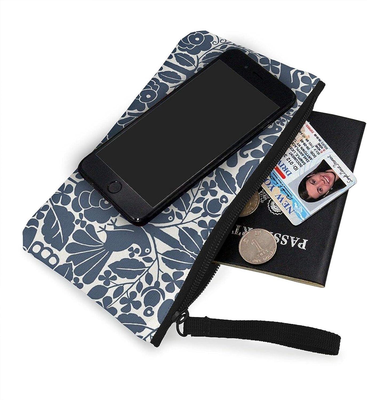 AORRUAM Peacock and flower Canvas Coin Purse,Canvas Zipper Pencil Cases,Canvas Change Purse Pouch Mini Wallet Coin Bag