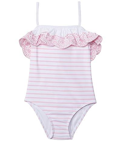 Janie and Jack Stripe One-Piece Swim (Toddler/Little Kids/Big Kids) (Pink) Girl