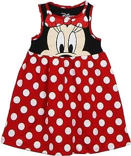 Toddler Girls Minnie Face Dress, Red Polka Dot