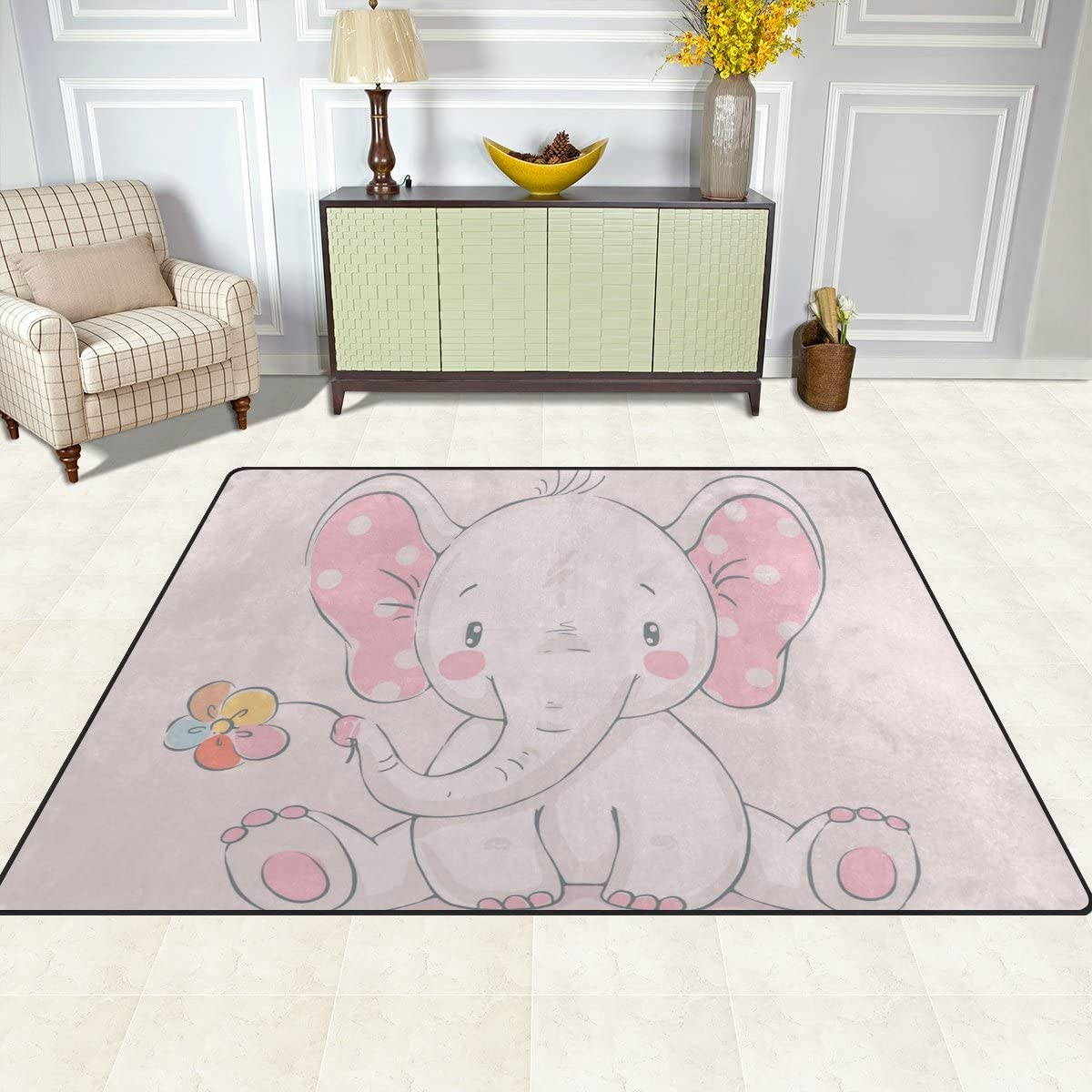 Cooper Mail order Same day shipping Girl Pink Cute Elephant Area Mat fo Rug Carpet 6'8