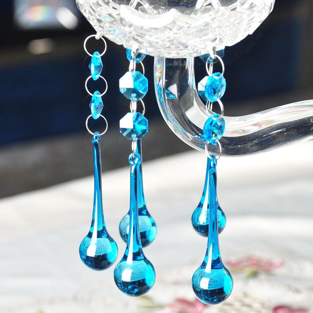 paquete de 5 y 10 color azul. 20 x 80 mm, 5 unidades Colgante de cristal con forma de oct/ágono o copo de nieve para candelabro luz de techo ECT