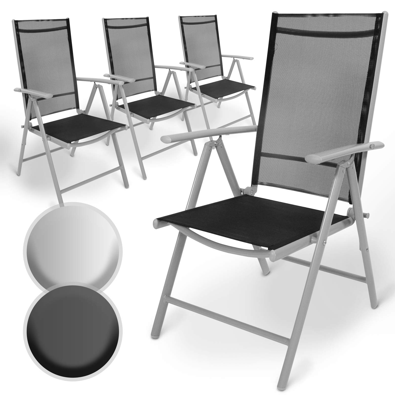 MIADOMODO Aluminium Folding Garden Chairs  with Armrests, High Backrest  Adjustable in 8 Positions, 8x8 Thread  Recliner Chair Outdoor Camping