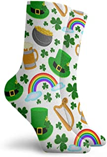 Hangdachang, Happy St. Patrick, calcetines de moda unisex con estampado de San Patricio, calcetines de vestir para hombres y mujeres