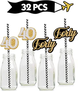 40th Gold Striped Paper Straw Décor- Birthday Anniversary Party decoration – Set of 32