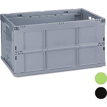 Relaxdays Caja de Almacenaje Plegable 60 L, Plástico, Gris, 31.5 x 58.5 x 40 cm, 31,5 x 58,5 x 40 cm: Amazon.es: Hogar