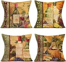 YANGYULU Vintage Mellow Wine Theme Cotton Linen Throw Pillow Covers French Grape Vin Bottle Decorative Cushion Case Covers Restaurant Pub DecorCouch Sofa 18